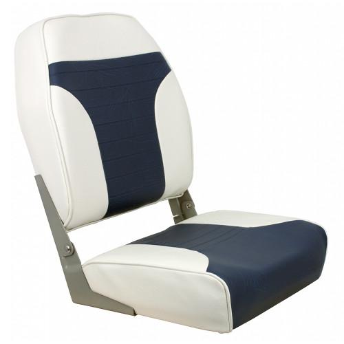1040667 Springfield High Back Multi-Color Folding Seat - White/Blue