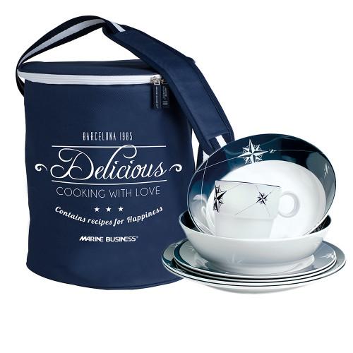 14147 Marine Business Melamine Tableware & Basket - SAILOR SOUL - Set of 16