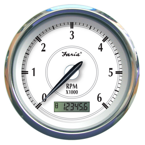 "45005 Faria Newport SS 4"" Tachometer w/Hourmeter f/Gas Outboard - 7000 RPM"