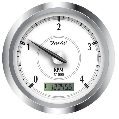 """45006 Faria Newport SS 4"""" Tachometer w/Hourmeter f/Diesel w/Magnetic Pick-Up - 4000 RPM"""