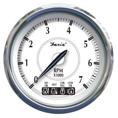 """45013 Faria Newport SS 5"""" Tachometer f/Gas Inboard - 6000 RPM"""