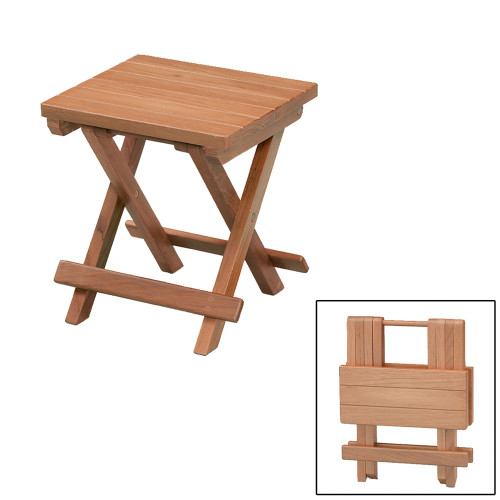 60034 - Whitecap Teak Grooved Top Fold-Away Table/Stool