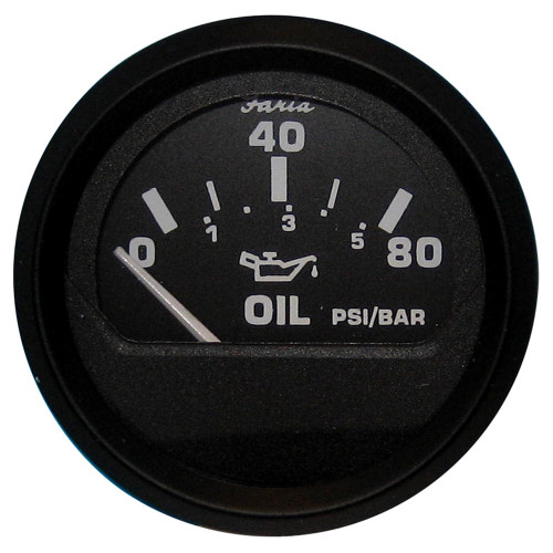 12803 - Faria Euro Black Oil Pressure Gauge - 80 PSI