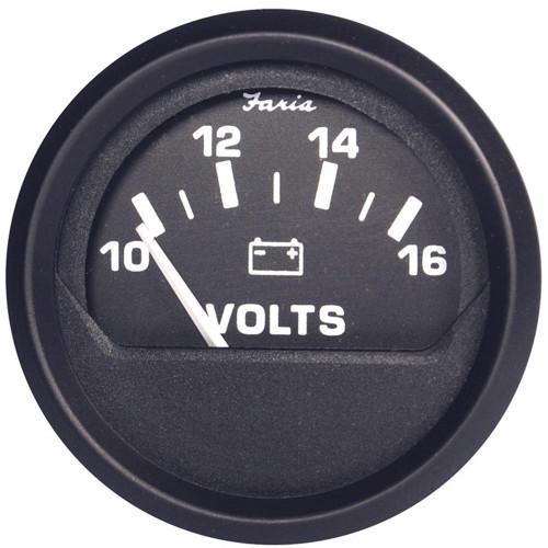 "12821 - Faria Euro Black 2"" Voltmeter (10-16 VDC)"
