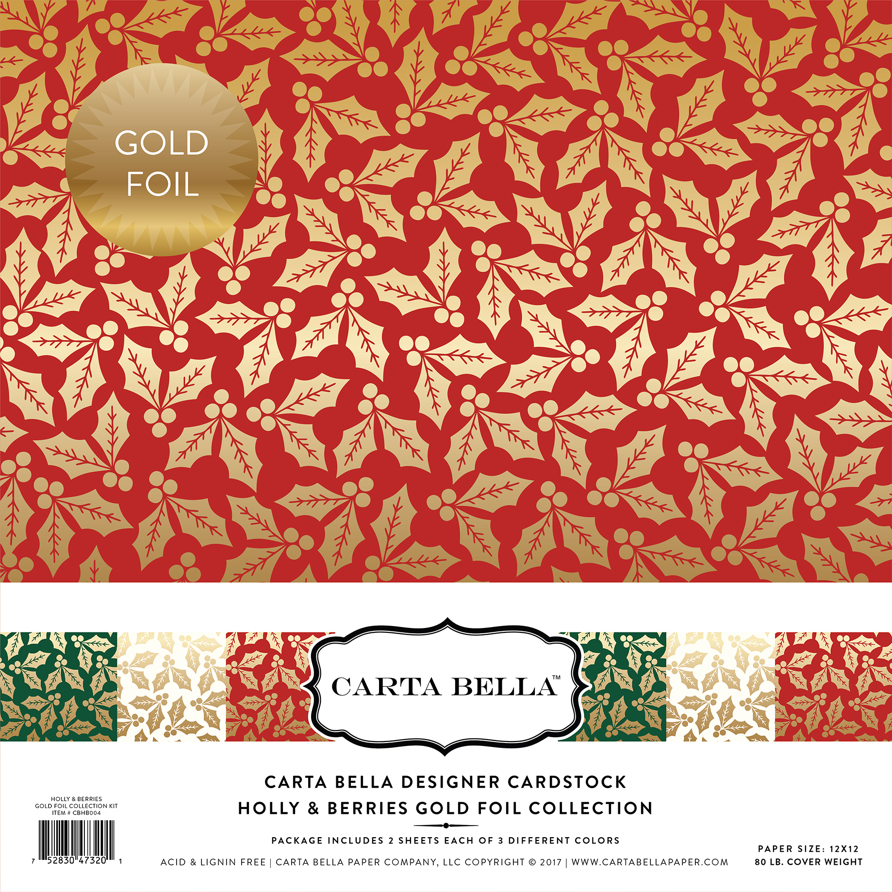 Holly & Berries Gold Foil