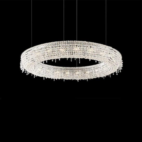 Circular Crystal Pendant Light with Chrome Finish 18 Lamps