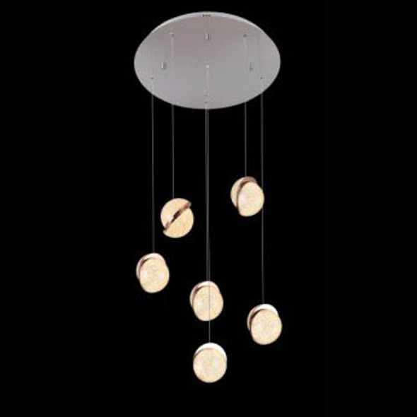 Flush Light with 6 Golden Asymmetrical Pendant Globes in Chrome Finish