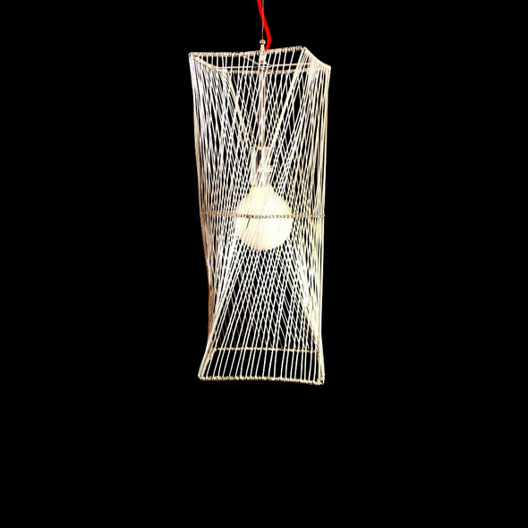 Modern Straw Effect Pendant Light in Silver Finish