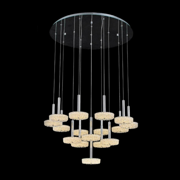 Glass Chandelier with 16 Round Pendants in Chrome Finish