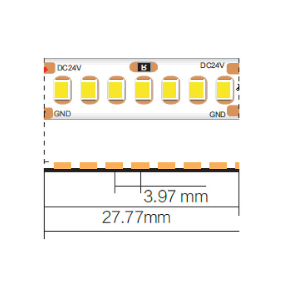 10mm 24V Warm White LED Strip 5m 3000K IP20