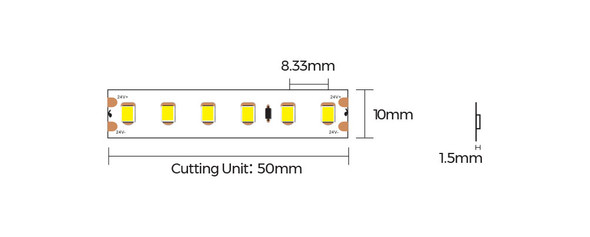 8mm 24V Warm White LED Strips 5m 3000K IP67