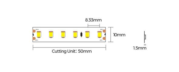 8mm 24V Warm White LED Strips 5m 3000K IP67