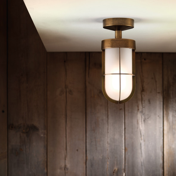 Cabin Semi Flush Frosted in Antique Brass