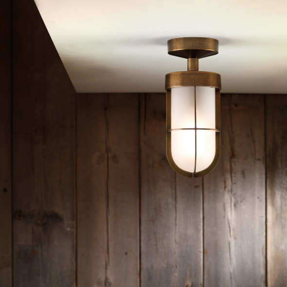 Cabin Semi Flush Frosted in Polished Nickel