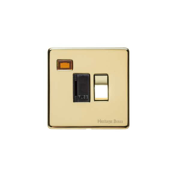 Studio Range Switched Spur with Neon (13 Amp) in Polished Brass - Black Trim - Y01.236.PBBK