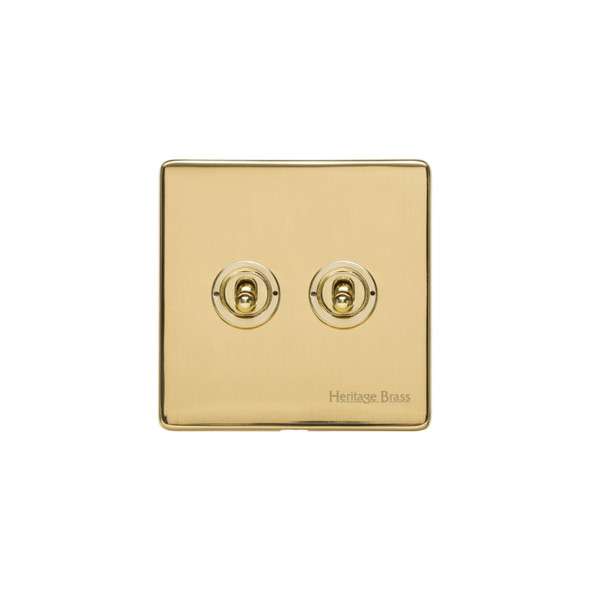 Studio Range 2 Gang Dolly Switch in Polished Brass - Trimless - Y01.2410.PB