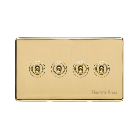 Studio Range 4 Gang Dolly Switch in Polished Brass - Trimless - Y01.2430.PB