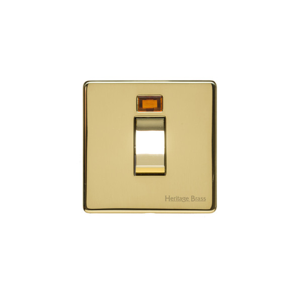 Studio Range 45A Switch with Neon (single plate) in Polished Brass - Trimless - Y01.263.PB