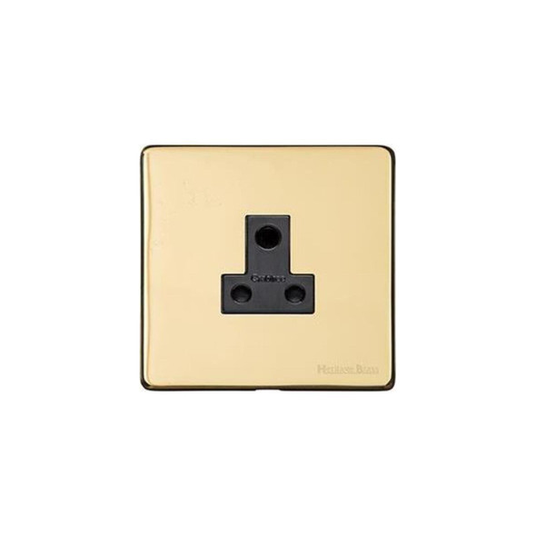 Studio Range 5 Amp 3 Round Pin Socket in Polished Brass - Black Trim - Y01.282.BK