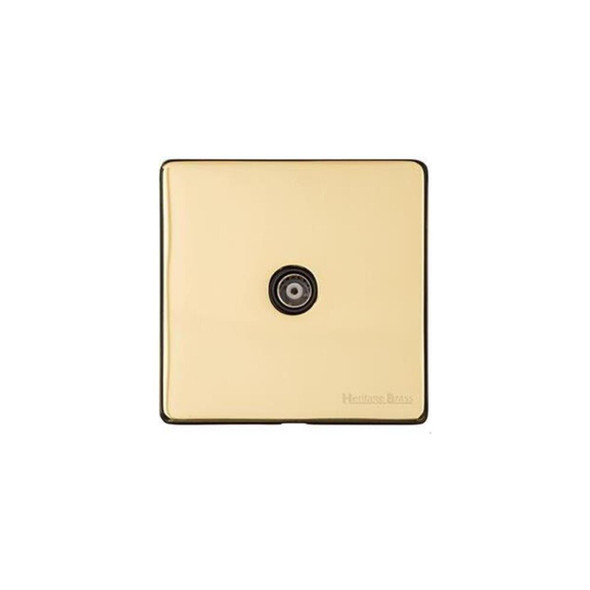 Studio Range 1 Gang Non-Isolated TV Coaxial Socket in Polished Brass - Black Trim - Y01.221.BK