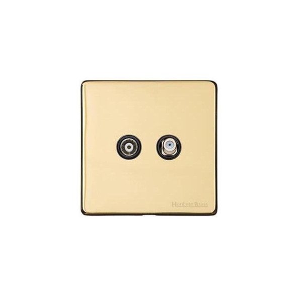 Studio Range TV/Satellite Socket in Polished Brass - Black Trim - Y01.226.BK