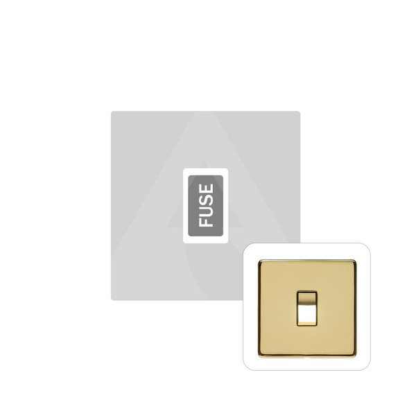 Studio Range Unswitched Spur (13 Amp) in Polished Brass - White Trim - Y01.234.W