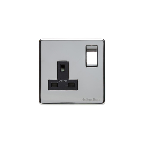 Studio Range Single Socket (13 Amp) in Polished Chrome - Black Trim - Y02.240.PCBK