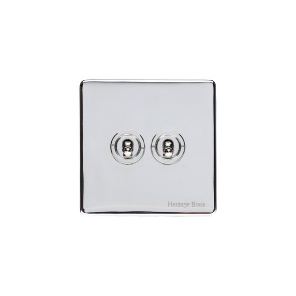 Studio Range 2 Gang Dolly Switch in Polished Chrome - Trimless - Y02.2410.PC