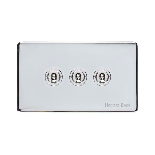 Studio Range 3 Gang Dolly Switch in Polished Chrome - Trimless - Y02.2420.PC