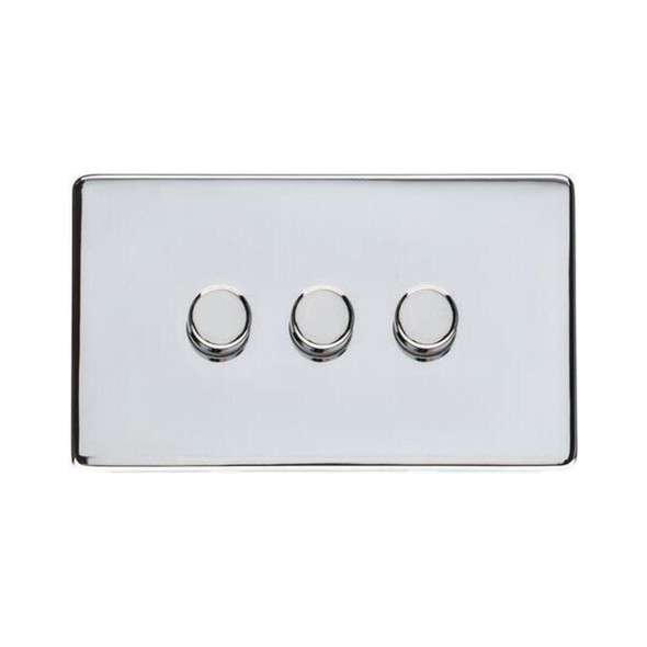 Studio Range 3 Gang Trailing Edge Dimmer in Polished Chrome - Trimless - Y02.280.TED
