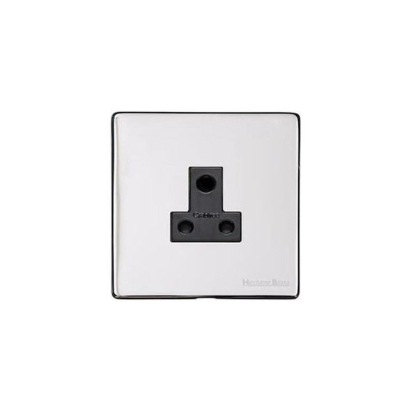 Studio Range 5 Amp 3 Round Pin Socket in Polished Chrome - Black Trim - Y02.282.BK