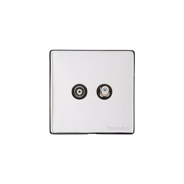 Studio Range TV/Satellite Socket in Polished Chrome - Black Trim - Y02.226.BK