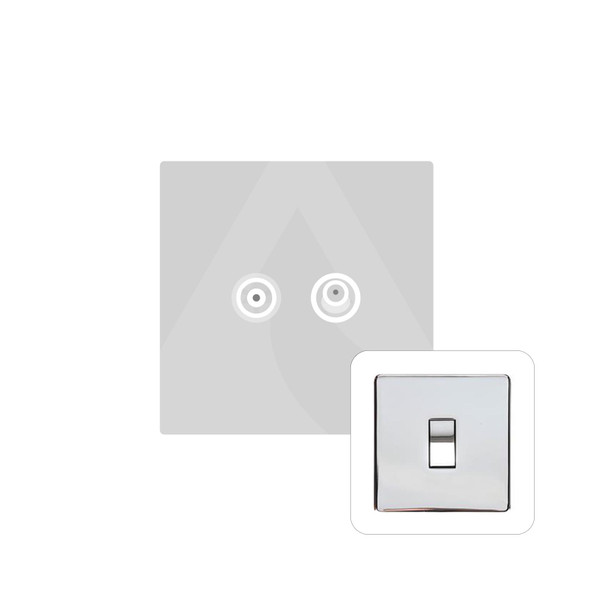 Studio Range TV/Satellite Socket in Polished Chrome - White Trim - Y02.226.W
