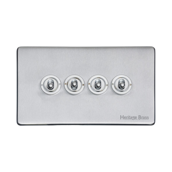 Studio Range 4 Gang Dolly Switch in Satin Chrome - Trimless - Y33.2430.SC