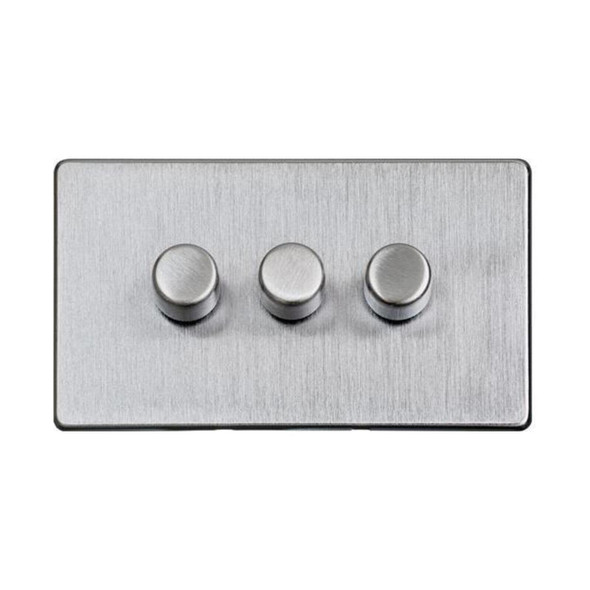 Studio Range 3 Gang Trailing Edge Dimmer in Satin Chrome - Trimless - Y33.280.TED