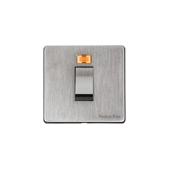 Studio Range 45A Switch with Neon (single plate) in Satin Chrome - Trimless - Y33.263.SC