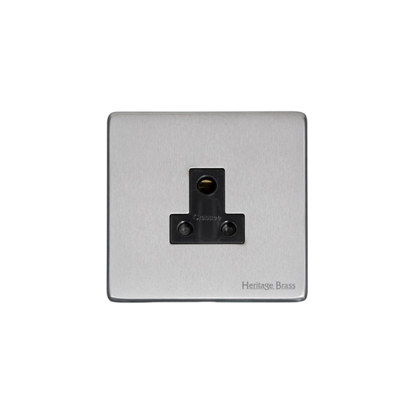 Studio Range 5 Amp 3 Round Pin Socket in Satin Chrome - Black Trim - Y33.282.BK