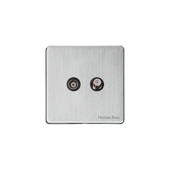 Studio Range TV/Satellite Socket in Satin Chrome - Black Trim - Y33.226.BK
