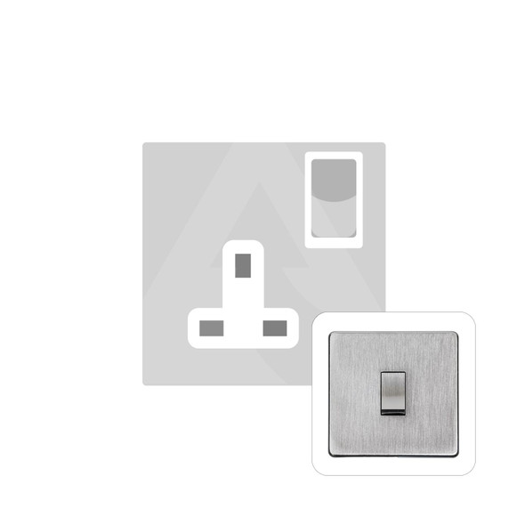 Studio Range Single Socket (13 Amp) in Satin Chrome - White Trim - Y33.240.SCW