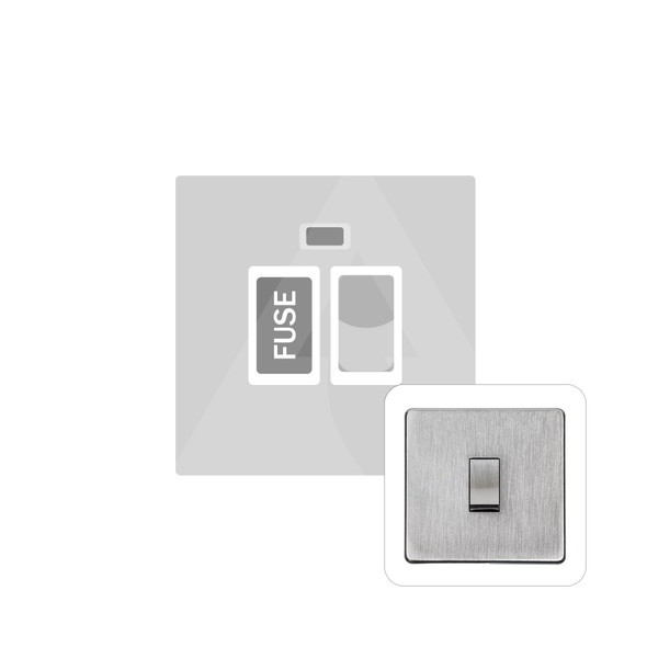 Studio Range Switched Spur with Neon (13 Amp) in Satin Chrome - White Trim - Y33.236.SCW