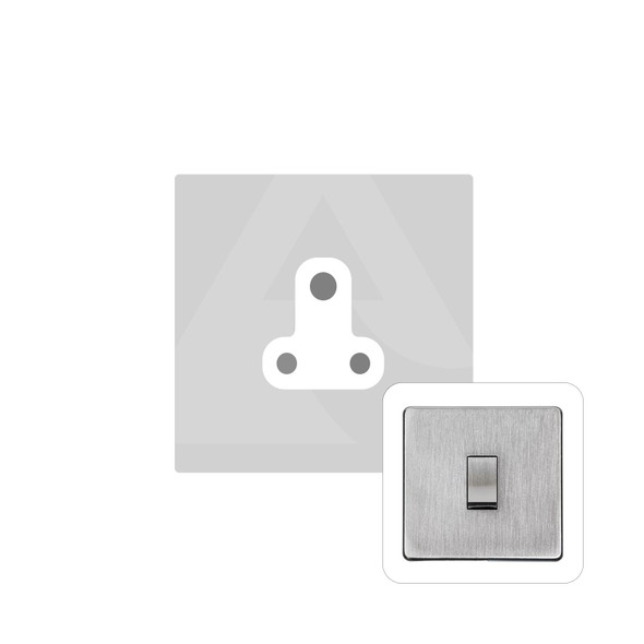 Studio Range 5 Amp 3 Round Pin Socket in Satin Chrome - White Trim - Y33.282.W