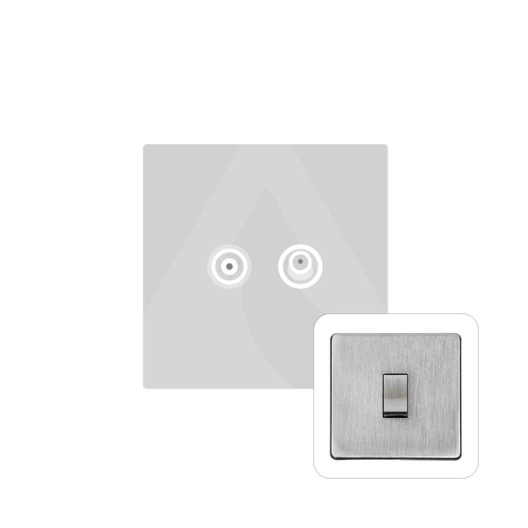 Studio Range TV/Satellite Socket in Satin Chrome - White Trim - Y33.226.W
