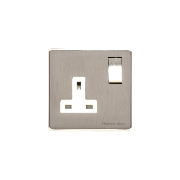 Studio Range Single Socket (13 Amp) in Satin Nickel - White Trim - Y05.240.SNW
