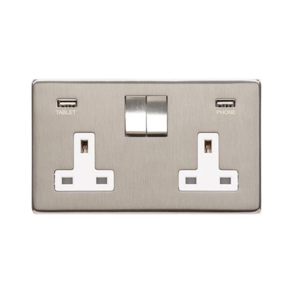 Studio Range Double USB Socket (13 Amp) in Satin Nickel - White Trim - Y05.255.SNW-USB