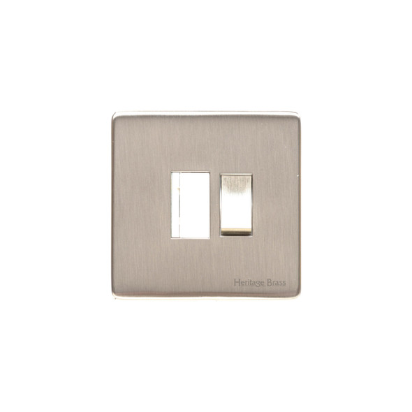 Studio Range Switched Spur (13 Amp) in Satin Nickel - White Trim - Y05.235.SNW