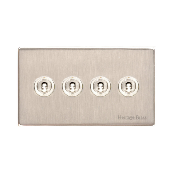 Studio Range 4 Gang Dolly Switch in Satin Nickel - Trimless - Y05.2430.SN