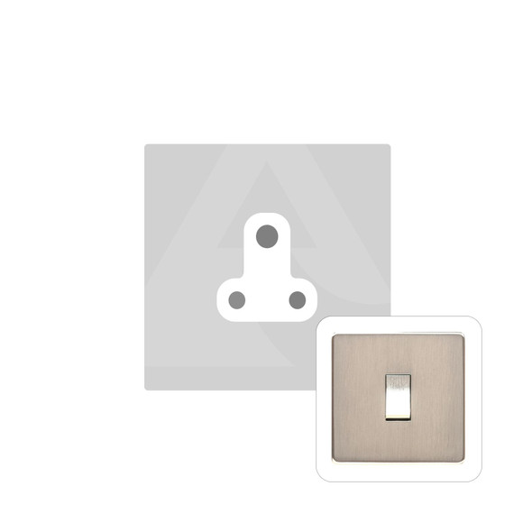Studio Range 5 Amp 3 Round Pin Socket in Satin Nickel - White Trim - Y05.282.W