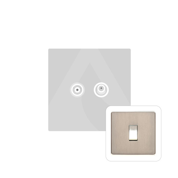 Studio Range TV/Satellite Socket in Satin Nickel - White Trim - Y05.226.W