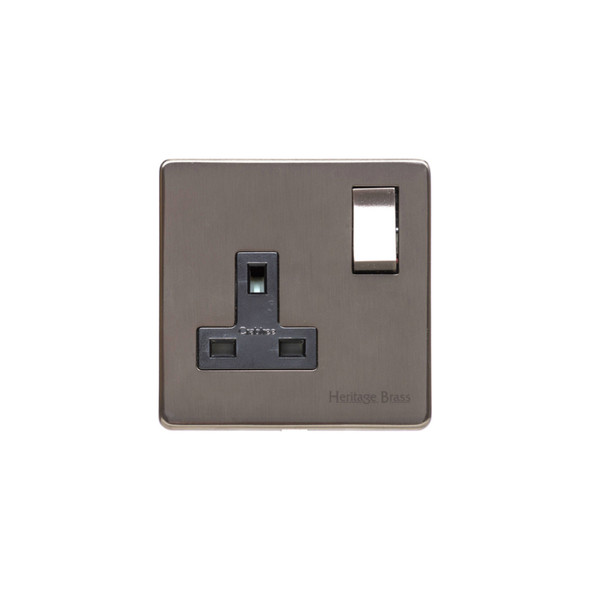 Studio Range Single Socket (13 Amp) in Polished Bronze - Black Trim - Y07.240.BZBK