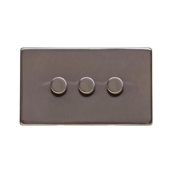 Studio Range 3 Gang Trailing Edge Dimmer in Polished Bronze - Trimless - Y07.280.TED